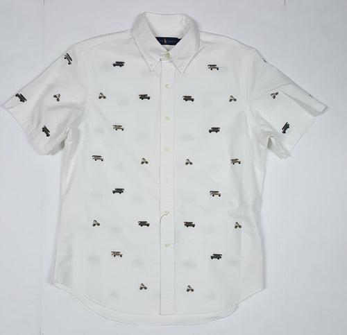 NWT POLO RALPH LAUREN WHITE ALLOVER PRINT BUTTON UP