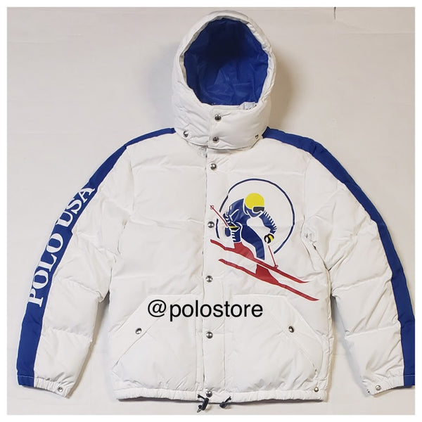 Nwt Polo Ralph Lauren White Skier Polo Usa Downhill Down Jacket