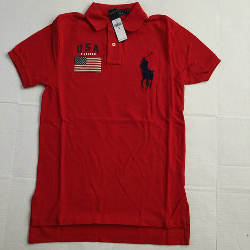 NWT POLO RALPH LAUREN RED FLAG BIG PONY CUSTOM FIT POLO