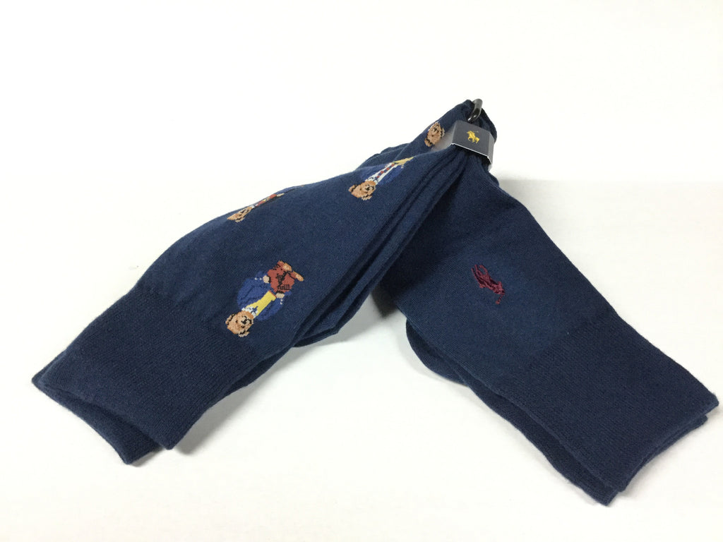 POLO RALPH LAUREN NAVY MULTI TEDDY BEAR SOCKS / PACK OF 2