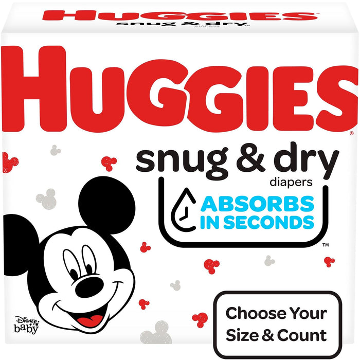 Huggies Snug & Dry Diapers, Size 6 (fits 35+ lb.), 124 Ct, One Month Supply
