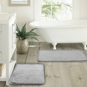 Better Homes & Gardens Silver Faux Fur Memory Foam 2 Piece Bath Rug Set