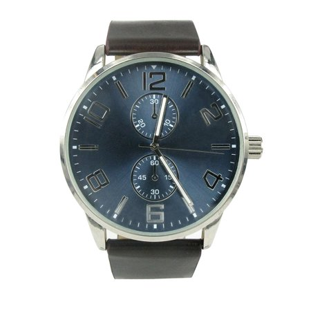 Men's Quartz Watch with Black Leather Band