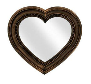 Wall Mirror Antique Bronze Heart Shaped Mirror