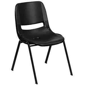 "Flash Furniture HERCULES Series 440 lb. Capacity Kid's Black Ergonomic Shell Stack Chair with Black Frame and 12"" Seat Height"