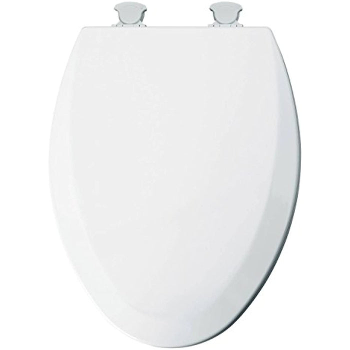 Elongated Molded Wood Toilet Seat with Easy Clean & Change Hinge White - Mayfair