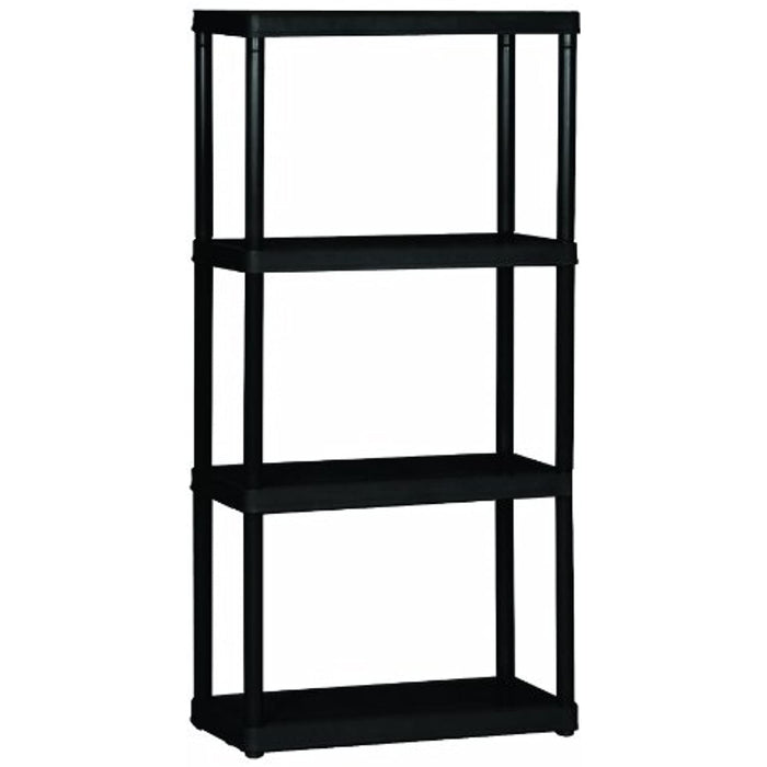 "Gracious Living Solid, Black 4-Shelf Light Duty, 24""X12""X48"""
