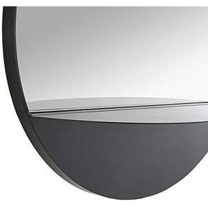 "Amazon Brand - Rivet Modern Round Hanging Mirror with Shelf, 18"" Diameter, Black"
