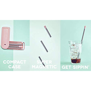 Dash Magnetic Collapsible Super Straw with Carrying Case Teal