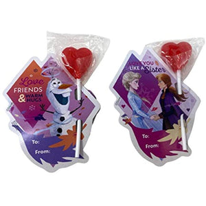 Valentines Day Cards from Disney Frozen 2 with Heart Lollipops for Classroom Party Exchange Kit, 25 Count