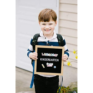 "Pearhead First and Last Day of School Photo Prop 10"" x 10"" Letterboard Set, Includes 386 Letters and School Stickers, Back to School Supplies, Black"