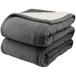 Biddeford 2060-9052140-902 MicroPlush Sherpa Electric Heated Blanket Twin Grey L