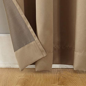 "Sun Zero Barrow Energy Efficient Rod Pocket Curtain Panel, 54"" x 63"", Taupe, One Panel"