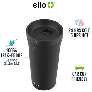 Ello Arabica Stainless Steel Powder Coat Coffee Tumbler with Sliding Leak Proof Lid, 14 oz (Rosegold)