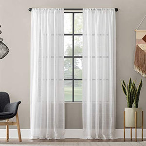 "Clean Window Textured Slub Stripe Anti-Dust Allergy/Pet Friendly Sheer Curtain Panel, 52"" x 95"", White"