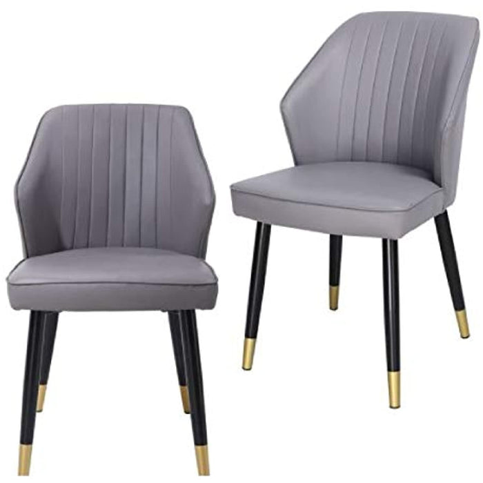 Set of 2 Gorgeous Leather Grey Dining Room Chair with Modern and Simple Design Metal Legs and Set of 2 Gorgeous Leather Grey Dining Room Chair with Modern and Simple Design Metal Legs and Comfortable Padded Seat