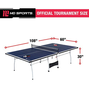 MD Sports Table Tennis Set, Regulation Ping Pong Table with Net, Paddles and Balls (8 Pieces) - Blue and White