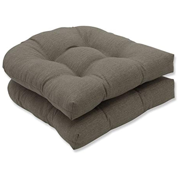 Pillow Perfect Indoor/Outdoor Monti Chino Wicker Seat Cushions, Set of 2, Multicolor, 19 L x 19 W x 4.5 D,Taupe