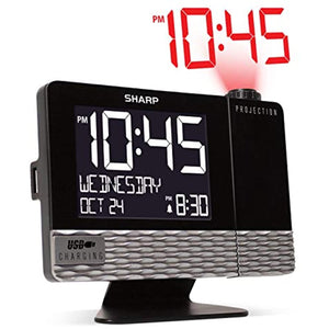 Sharp Projection with USB Charge Table Clock Black