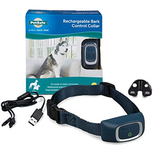 PetSafe Rechargeable Bark Collar, 15 Levels of Automatically Adjusting Static Correction, Rechargeable, Waterproof, Reduces Barking and Whining, for Dogs over 8 lb