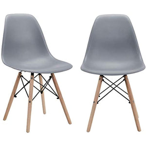 CangLong Modern Mid-Century Shell Lounge Plastic DSW Natural Wooden Legs for Kitchen, Dining, Bedroom, Living Room Side Chairs, Set of 2, Grey