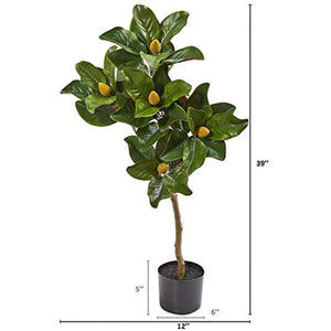 "Nearly Natural 39"" Magnolia Leaf Artificial Silk Trees Green"