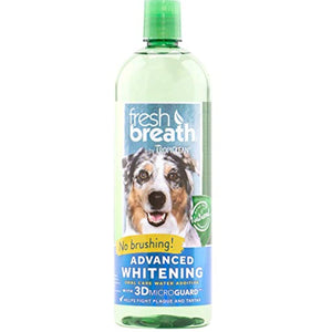 Fresh Breath by TropiClean Advanced Whitening Oral Care Water Additive for Dogs, 33.8oz, Made in USA