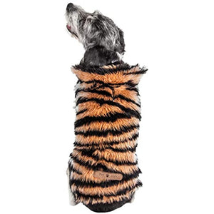 Pet Life Luxe 'Tigerbone' Glamourous Tiger Patterned Mink Fur Dog Coat Jacket, Small, Brown