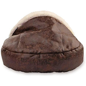 Precious Tails Vegan Leather Deep Dish Cave Pet Bed 18inch in Brown