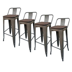 30 Inch Metal Barstools Farmhouse Counter Height Set of 4 with Wood Seat and Back,Dinning Stools Pub Stools for Home Kitchen Restaurant Bistro Cafe (Bronze)