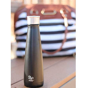 S'ip by S'well Stainless Steel Water Bottle - 15 Fl Oz - Black Licorice - Double-Layered Vacuum-Insulated Containers Keeps Drinks Cold for 24 Hours and Hot for 10 - BPA-Free Travel Water Bottle