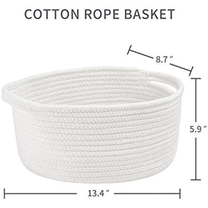"Cotton Rope Basket with Handles 13.4"" x 8.7"" X 5.9"" Woven Cotton Rope Storage Baskets are Ideal for Toy Baskets Baby Laundry Baskets Small Baskets and Nursery Baskets(White)"