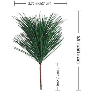 Artificial Green Pine Needles Branches Small Pine Twigs Stems Picks for Christmas Flower Arrangements Wreaths and Holiday Decorations, 20 Branch