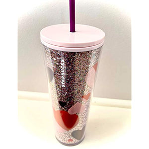 Valentine's Day 2021 Pink Hearts and Glitter Plastic Cold Cup, 24 oz