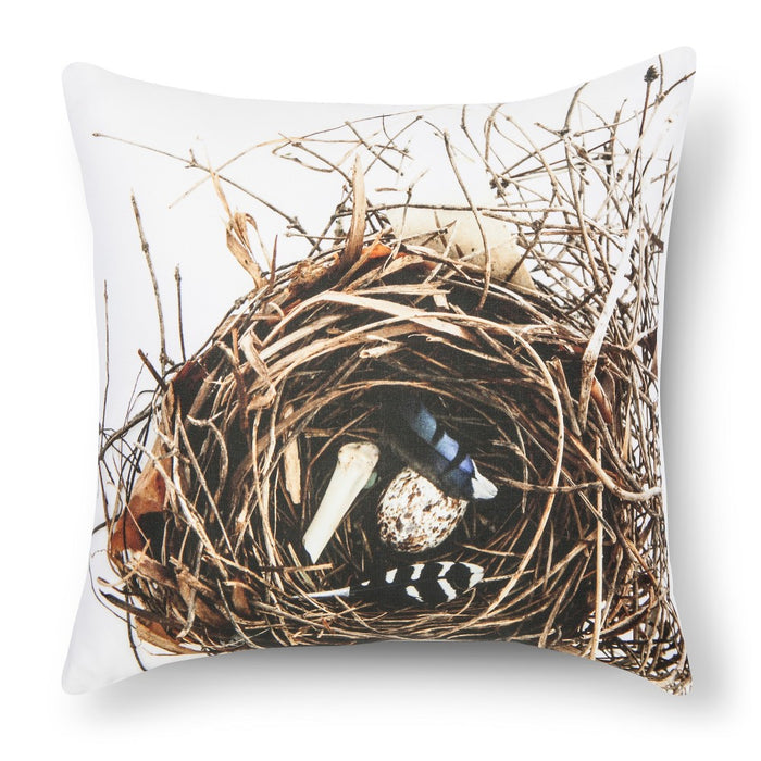 "Feather and Nest Print Pillow - 18x18"" - Multicolor - Still by Mary Jo, Blue"