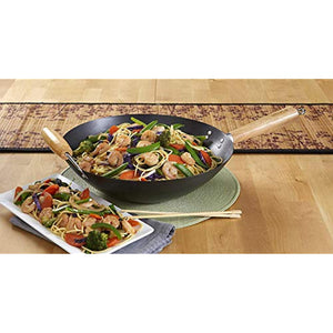 IMUSA USA Coated Wok with Wood Handles 14-Inch, Black
