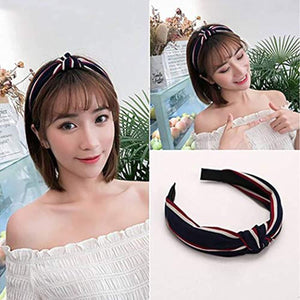 Cute Knot Headbands for Women 2 Pack Cross Knot Hair Hoops Band with Cloth Wrapped with Wide Stripe Bow Headband for Girls
