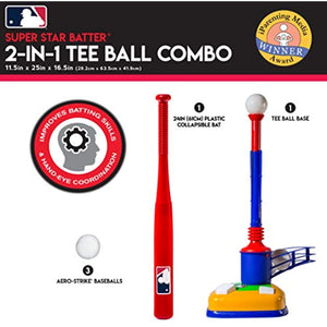 Franklin Sports Kids Baseball Tee - Tee Ball & Pop-a-Pitch Combo - MLB - 2-in-1 Super Star Batter Training Aid
