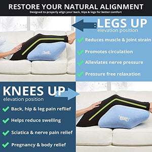 Contour 2-in1 Inflatable Leg & Knee Relief Support Cushion - Wedge Pillow Gently Elevates Legs to Relax Muscles & Comfort Swelling