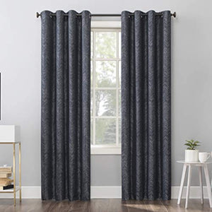 "Sun Zero Pasqual Distressed Chevron Thermal Extreme 100% Blackout Grommet Curtain Panel, 52"" x 84"", Navy Blue"
