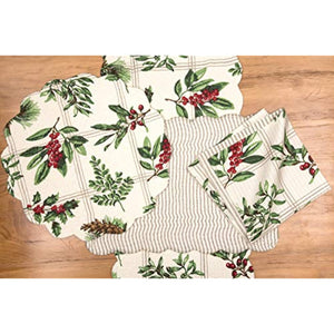 C&F Home Winter Botanical 13'' x 19'' Placemat Set of 6 Reversible Cotton Holiday Winter Holly Berry Table Mat for Kitchen Dining Table Rectangular Placemat Set of 6 Green