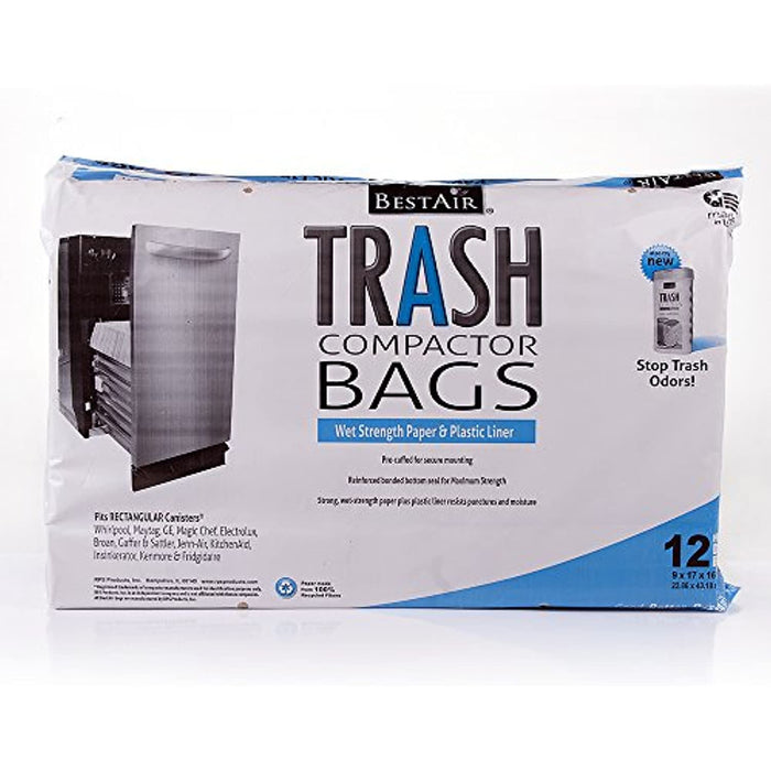 BestAir WMCK1335012-6 Heavy Duty Trash Compactor Bags, 16'' D x 9'' W x 17'' H, Pack of 1 (12 Bags)