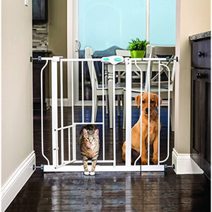Carlson Pet Products Metal Walk Through Extra Wide Pet Gate, White