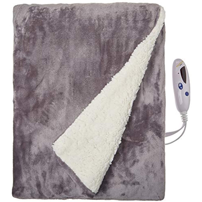 Biddeford Blankets Velour Electric Heated Blanket with Digital Controller, Throw, Gray with Natural Sherpa