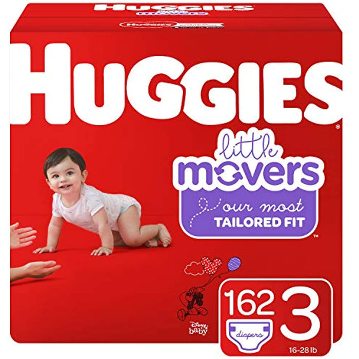 Huggies Little Movers Baby Diapers, Size 32 162 Ct, One Month Supply