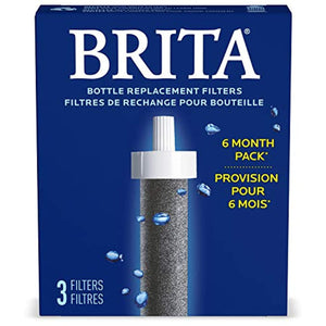 Brita Bottle Replacement Water Filters, 3 Count, Black