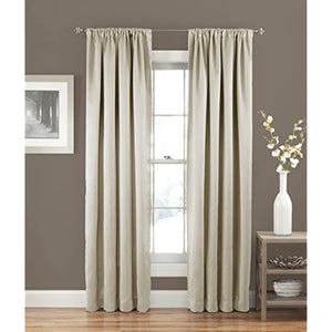 "ECLIPSE Room Darkening Curtains for Bedroom - Solid Thermapanel 54"" x 63"" Thermal Insulated Single Panel Rod Pocket Light Blocking Curtains for Living Room, Stone"