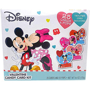 Disney Party Favors, Mickey and Minnie Cards with Lollipops, 25