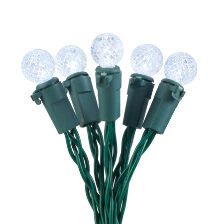 Holiday Time 13.5 ft, 50 Count White LED 8 Function Battery Operated String Christmas Lights