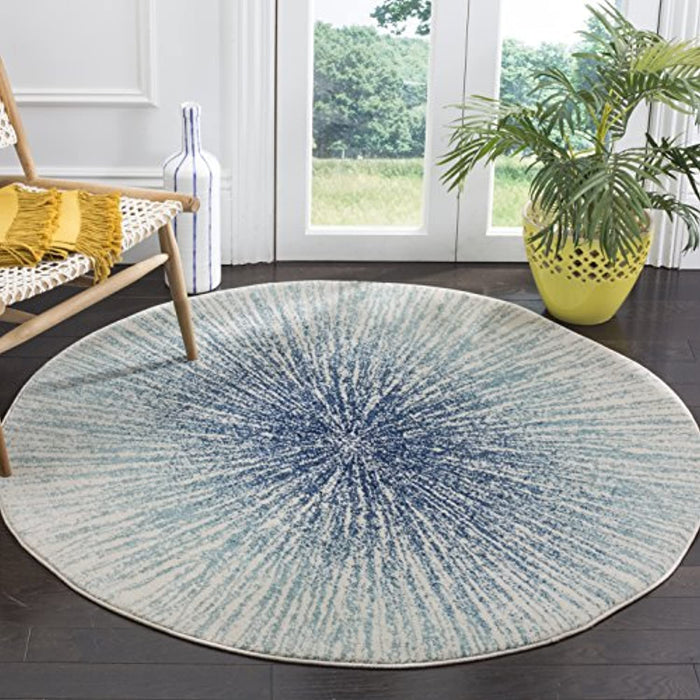 "Safavieh Evoke Collection EVK228A Abstract Burst Area Rug, 5'1"" x 5'1"" Round, Royal / Ivory"